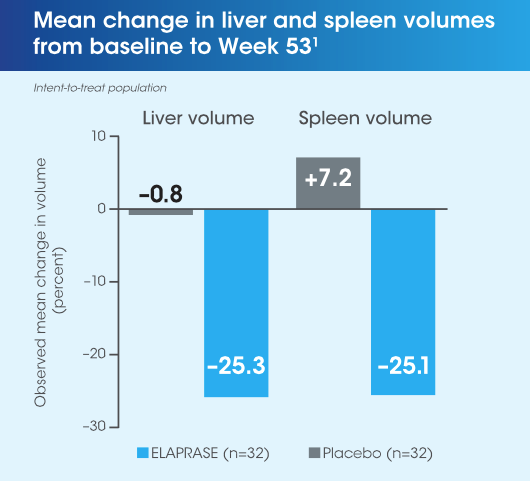 Elaprased reduced liver and spleen volumes